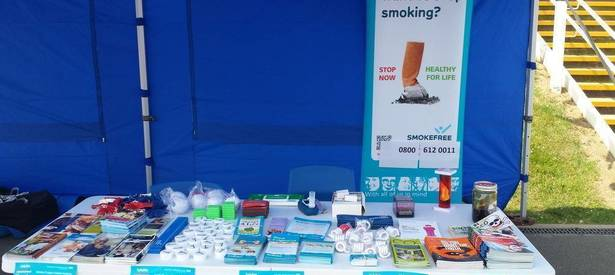 Health promotion stand at Ellis Primary School in Hemingfield